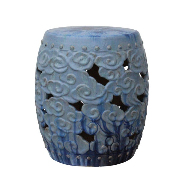 Ceramic Clay Light Blue Glaze Round Scroll Pattern Garden Stool For Sale - Image 4 of 8