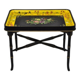 Sarreid Chinoiserie Yellow & Black Faux Bamboo Tole Serving Tray Coffee Table