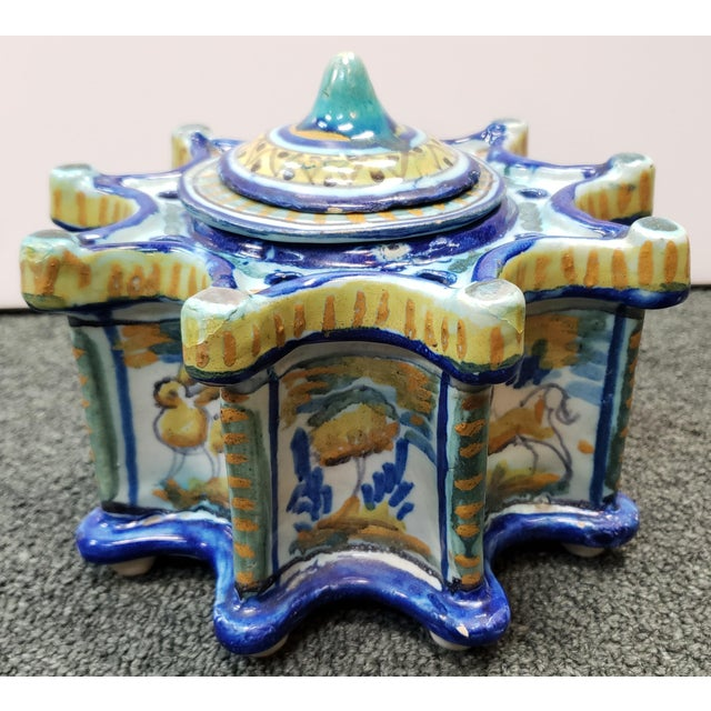 1900 - 1909 Circa 1900 Spanish Talavera Faience Pottery Inkwell For Sale - Image 5 of 11