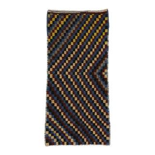 Turkish Tulu Checkerboard Pattern Rug - 3′10″ × 8′2″ For Sale