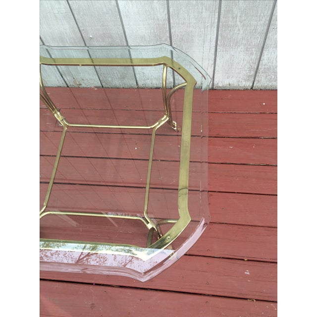 Hollywood Regency Brass Hoof Feet Coffee Table For Sale In New York - Image 6 of 9