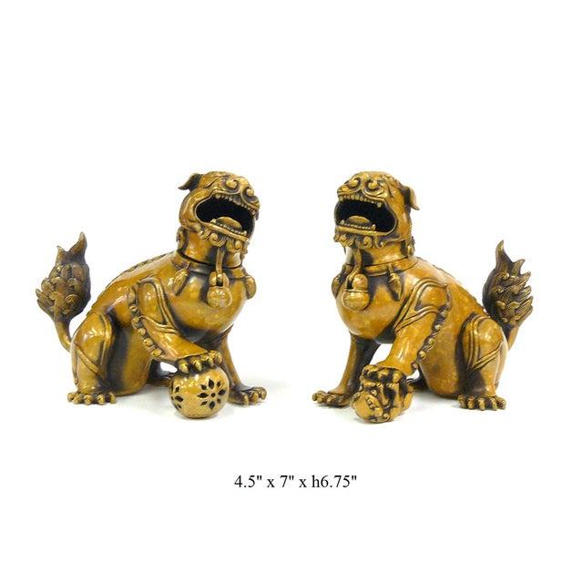 Fengshui Chinese Bronze Metal Foo Dogs - Pair - Image 6 of 6