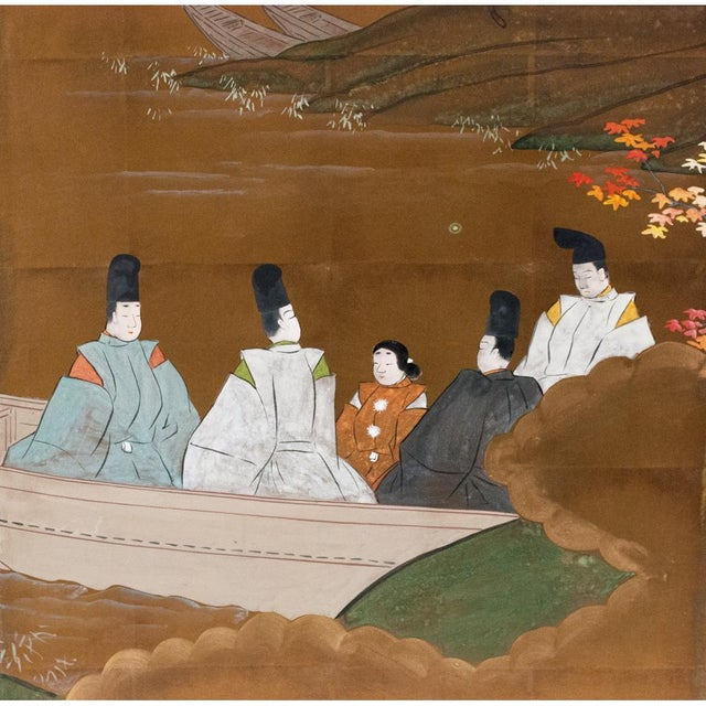 Early 20th Century 1920s Japanese Four Panel Byobu Screen For Sale - Image 5 of 13