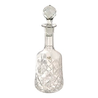 Hand Crafted Cut Crystal Decanter Golf Ball Style Stopper Vintage Heavy For Sale