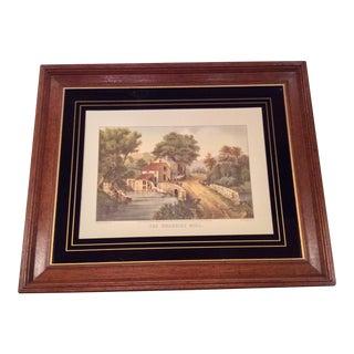 The Roadside Mill Currier & Ives Print in Vintage Frame For Sale