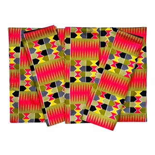 African Print Fabric Placemats & Napkins - Set of 16 For Sale
