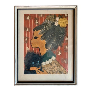Vintage Victorian Woman and Her Dog Framed Print For Sale