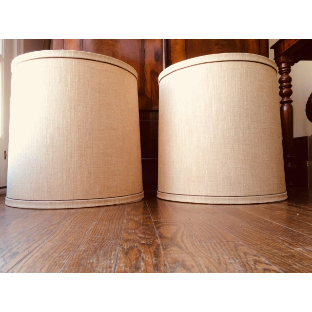 Large Mid-Century Frederick Cooper Drum Lamp Shades - a Pair For Sale In New York - Image 6 of 9