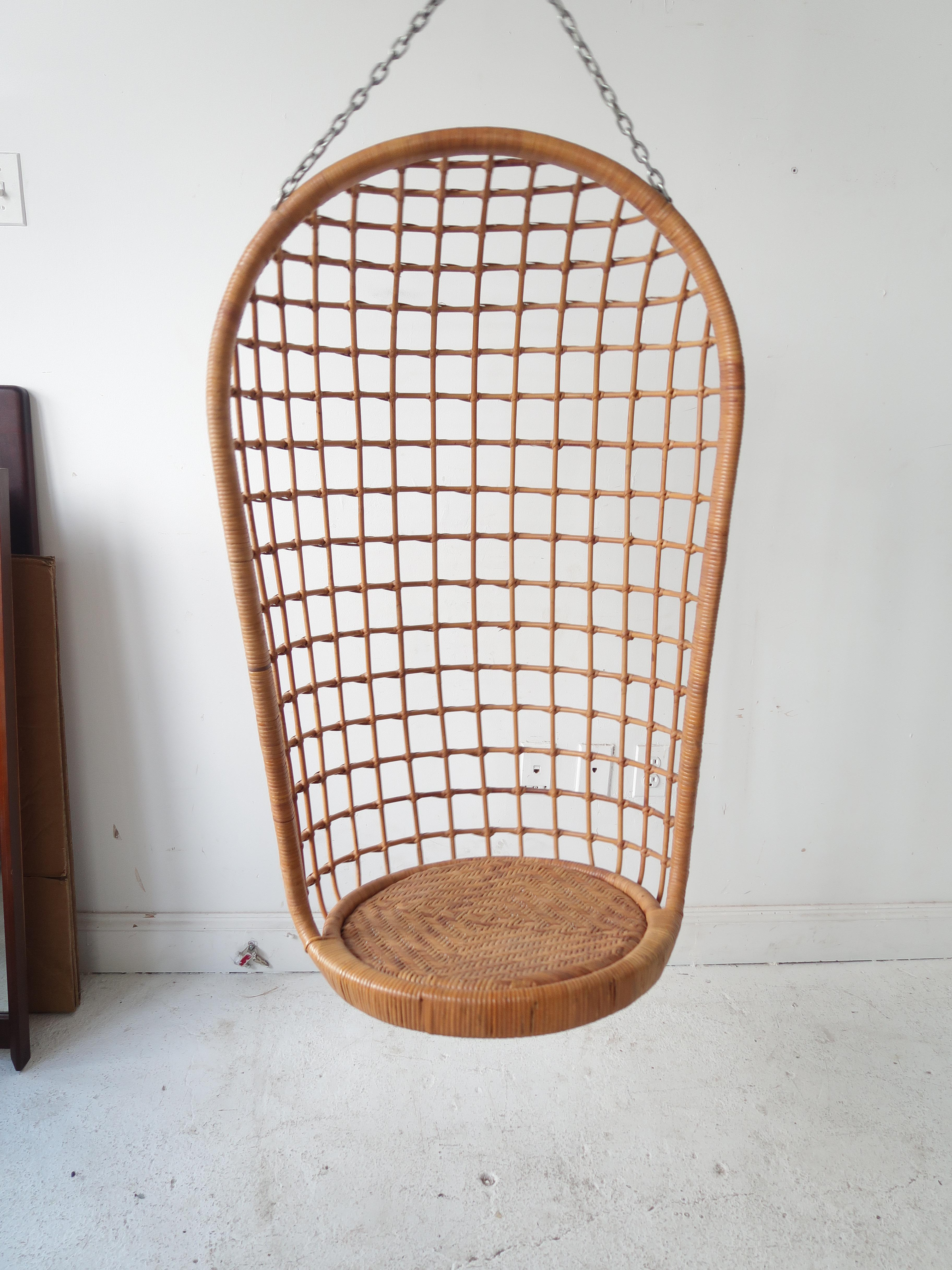 Vintage Bohemian Rattan And Bamboo Hanging Chair   Image 5 Of 7