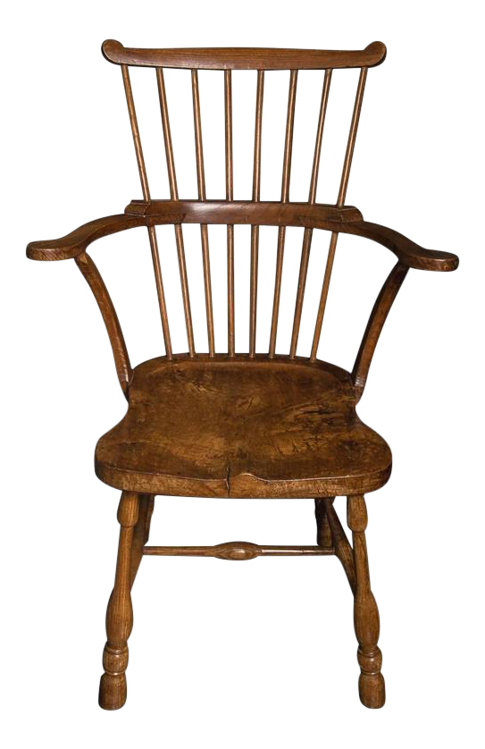 Rare Pennsylvanian Hickory And Maple U0027Windsoru0027 Comb Back Chair, Mid 18th