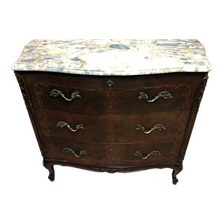 Antique French Marble Top Chest of Drawers For Sale