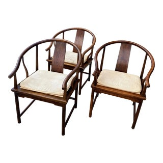 Far East Collection for Baker Furniture by Michael Taylor Horseshoe Chairs - Set of 3 For Sale