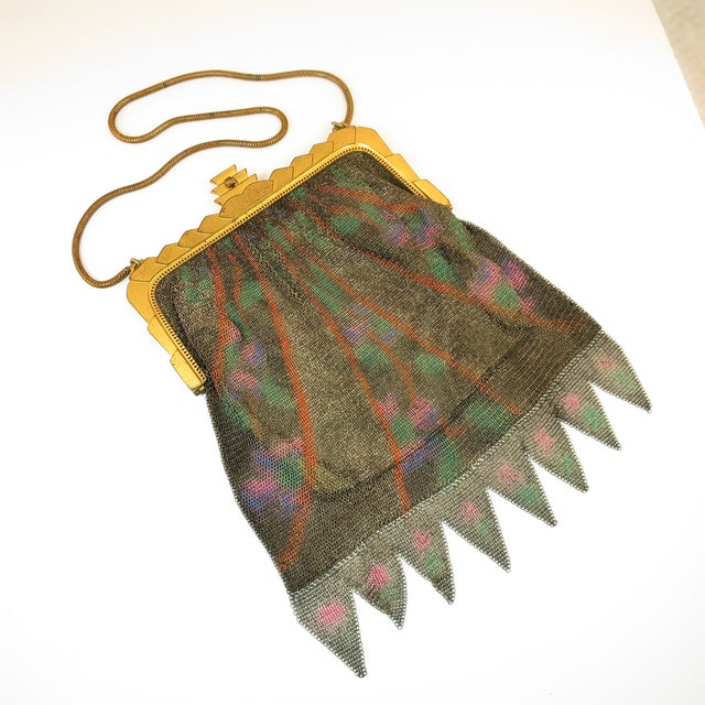Whiting & Davis Deco Hand-Tinted Dresden Mesh Evening Purse 1920s For Sale - Image 13 of 13