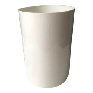 1970s Vintage Kartell White Plastic Oval Wastebasket For Sale