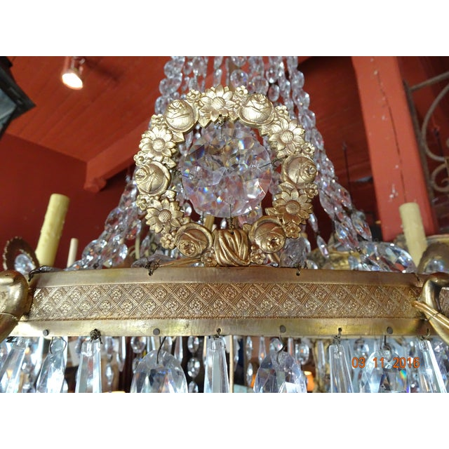19th Century French Empire Crystal Chandelier For Sale - Image 4 of 12