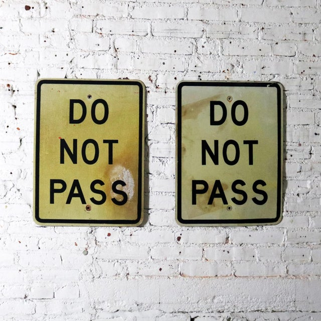 Vintage Do Not Pass Metal Traffic Signs For Sale - Image 10 of 13