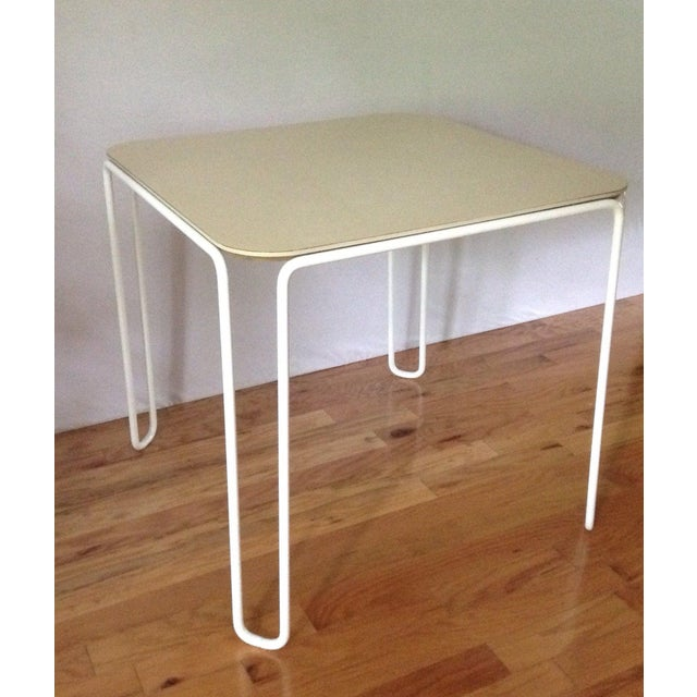 Mid-Century Modern Vintage Mid-Century Card Dinette Table Powder-Coat Hairpin Legs Off White Formica Top For Sale - Image 3 of 11