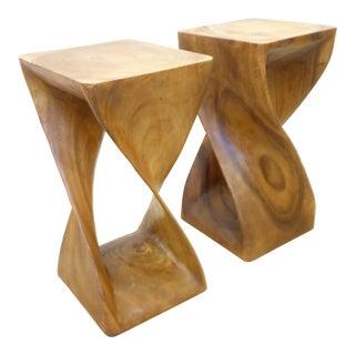 Vintage Modern Hardwood Sculptural End Tables - a Pair For Sale
