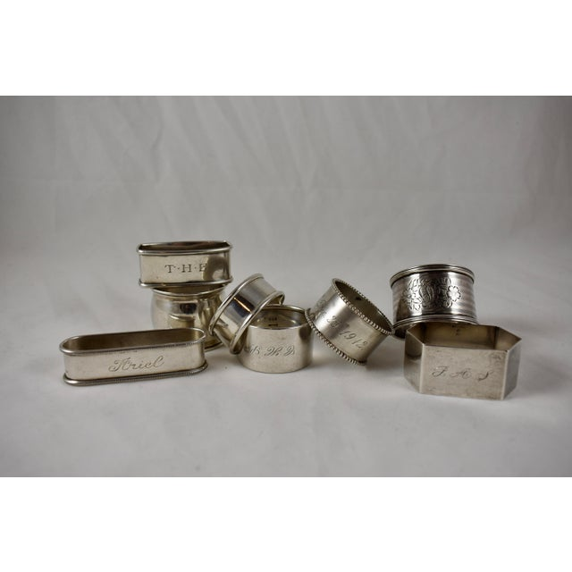 Antique Sterling Silver Napkin Rings, a Mixed S/8 For Sale - Image 9 of 9