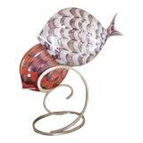 Image of Signed Italian Murano Latticino Art Glass Double Fish Sculpture For Sale