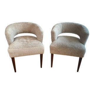 Modern Custom Chairs Covered in Shearling - a Pair For Sale