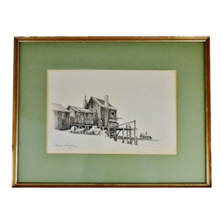 Vintage Framed Fishing Wharf Pencil Drawing - Artist Signed For Sale