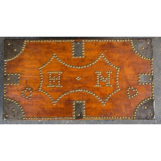 19th century tack decorated trunk. Wonderful overall design with initials 'H' 'N'. Original iron hardware. Vintage...