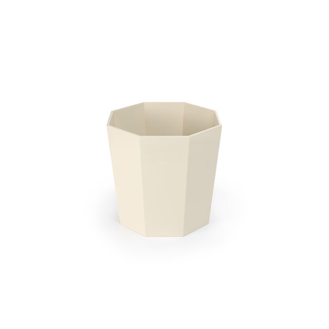 Miles Redd Collection Octagonal Waste Basket in Ivory For Sale