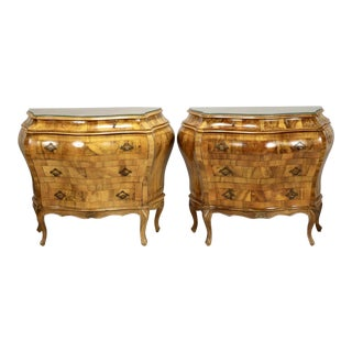 Bombe Oyster Wood Chests with Glass Tops - a Pair