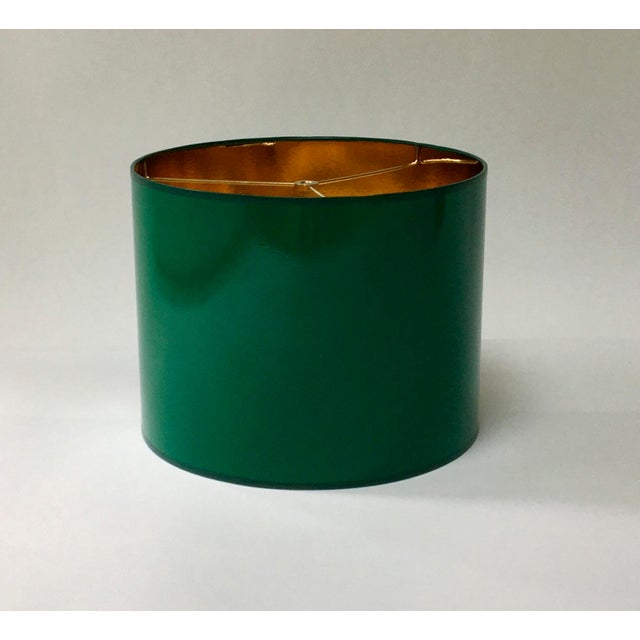 Modern Large High Gloss Dark Green Drum Lamp Shade With Gold Lining For Sale - Image 3 of 7