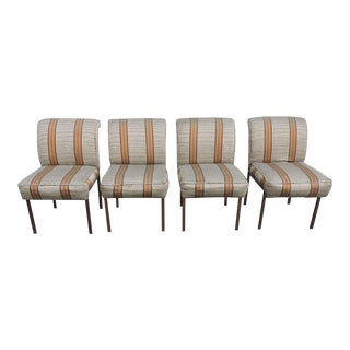 Mid Century Modern Set of Four Metal Dining Room Chairs For Sale