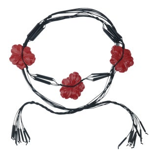 Asian Inspired Red Flower Black Swag Belt, C.1980 For Sale
