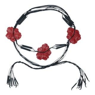 Asian Inspired Red Flower Black Swag Belt, C.1980 For Sale