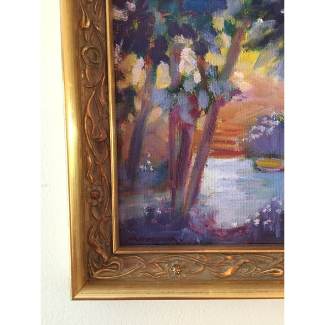 A vibrant original painting created plein-air in rural Missouri. The painting is 8 inches wide by 8 inches tall. The...