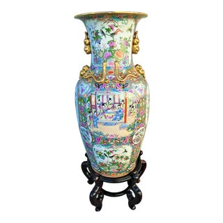 Vintage 1950s Chinoiserie Urn on Wooden Stand For Sale