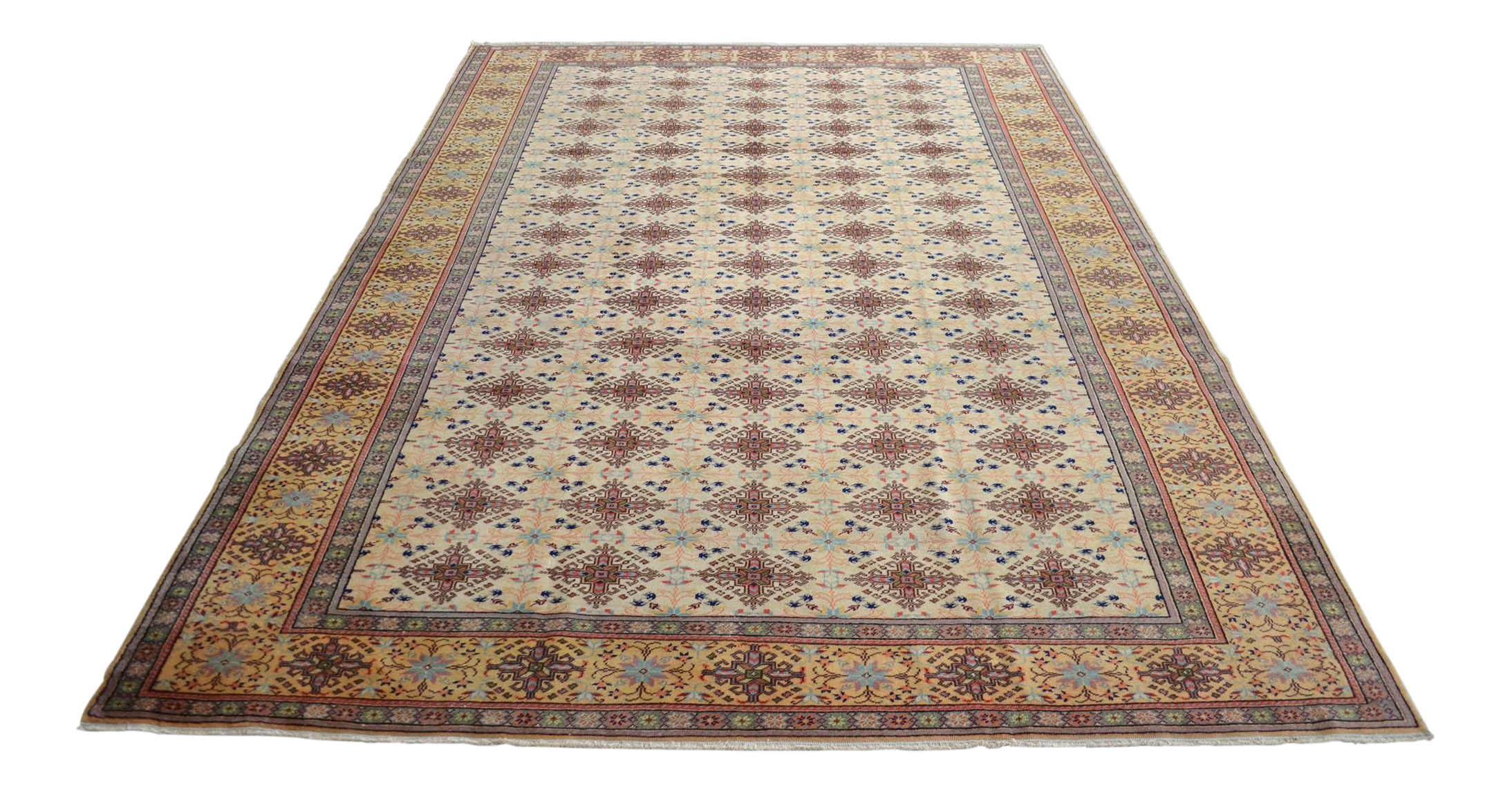 Turkish Fine Rug Hand Knotted Faded Low Pile Area Rug Pastel Colors