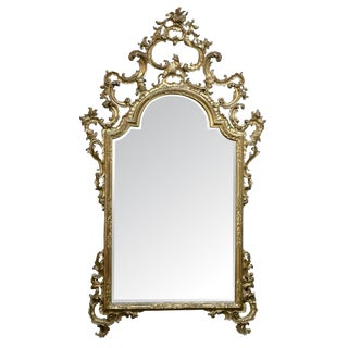 19th Century Italian Rococo Hand Carved Giltwood Mirror For Sale