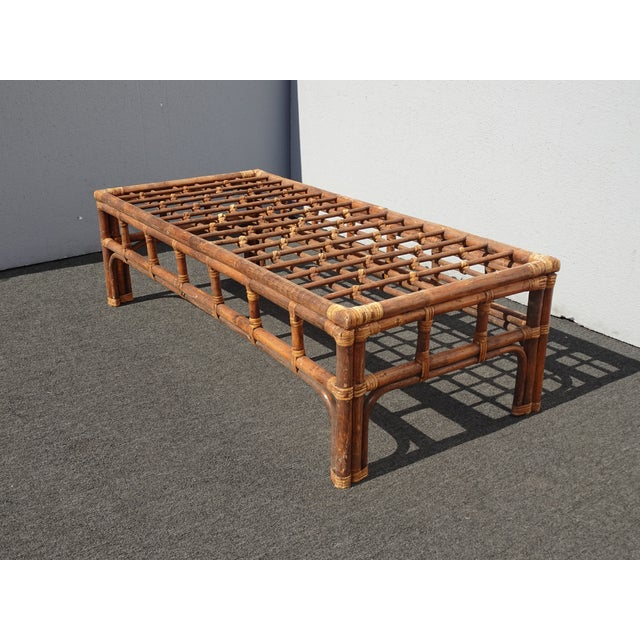 Vintage Mid Century Brown Bamboo Rattan Rustic Coffee Table For Sale - Image 4 of 11