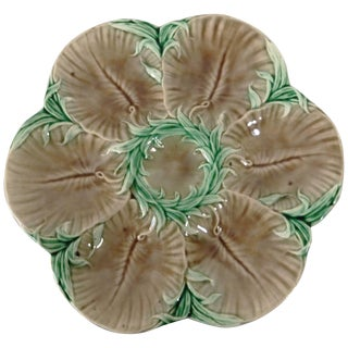 19th Century French Luneville Majolica Chocolate Oyster Plate For Sale