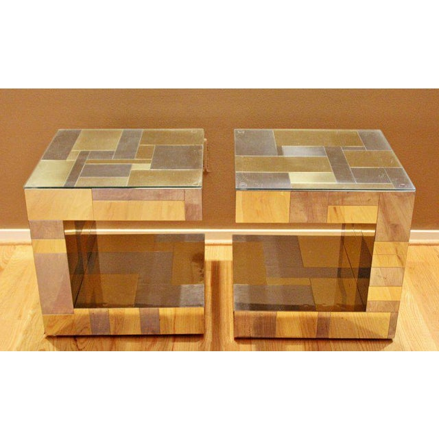Paul Evans Modern Pair of Paul Evans by Brass Chrome Cityscape Nightstands Side End Tables For Sale - Image 4 of 9