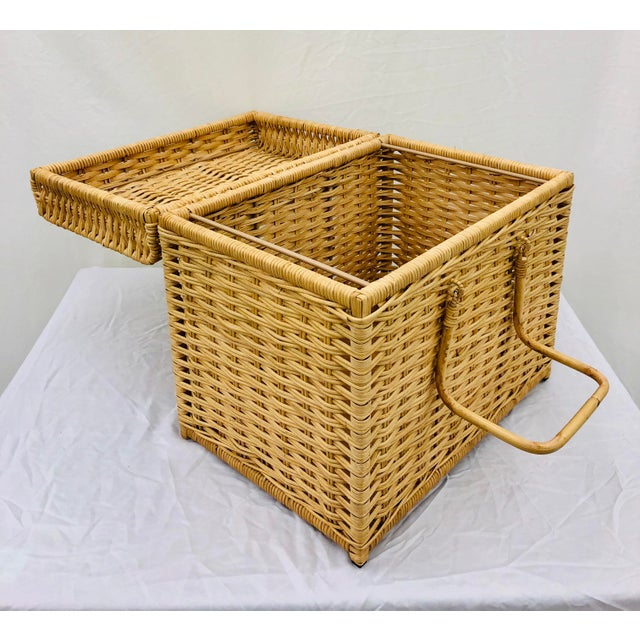 Woven Wicker Filing Box For Sale - Image 10 of 12