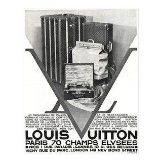 Matted Art Deco Vintage Louis Vuitton Advertisement Print Travel Needs 1930 For Sale