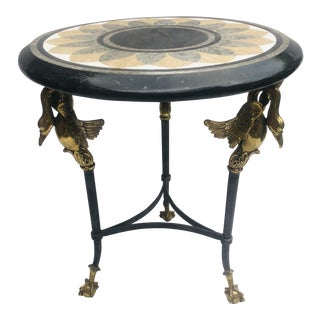 20th Century French Empire Maitland-Smith Stone Mosaic Side Table For Sale