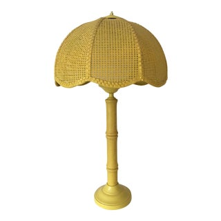 Vintage Cane and Faux Bamboo Lamp For Sale