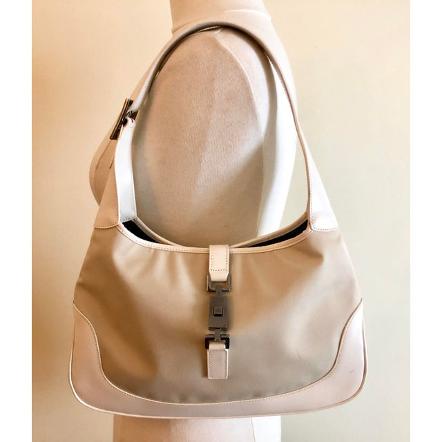 dd3a9f47d8a9 Classic Jackie hobo bag in a light tan canvas twill fabric with white  leather strap and