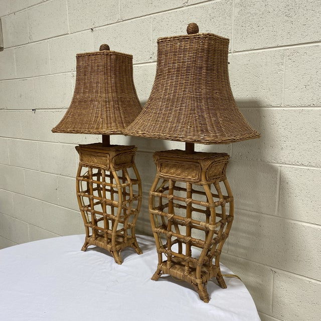These are exceptional wicker lamps in that the lamp base is metal wrapped with wicker, so nice and heavy and sturdy. Not a...