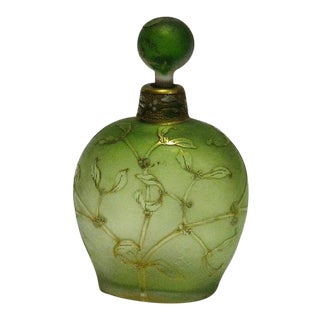 19th Century Art Nouveau Light Green Glass Bottle For Sale