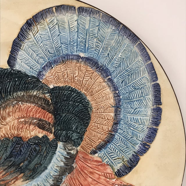 Ceramic Thanksgiving Decor Spanish Traditional Hand Painted Majolica Turkey Concave Decorative Plate For Sale - Image 7 of 12