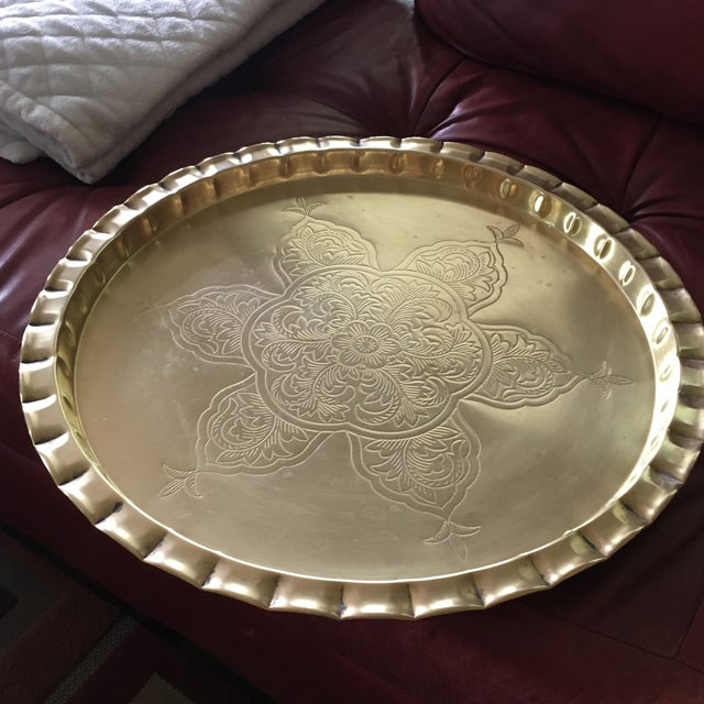 Vintage Round Bohemian Mid-Century Brass Tray For Sale - Image 10 of 11