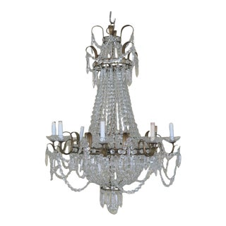 1940s Vintage Crystal French Style Chandelier For Sale